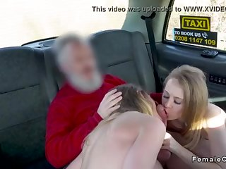 Boy drills 2 blondes in faux cab