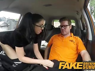 Spanish black-haired is having random hump with her driving professor, for the sake she is step little by little nasty