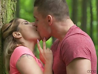 Cute ash-blonde stunner, Amy Douche and her fresh bf are fuckin' in a local wilderness
