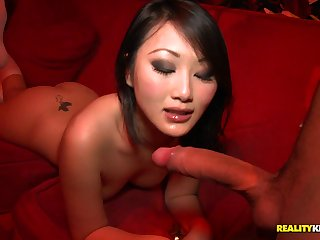 Regimen chinese damsel in knee highs takes wood from the back in public