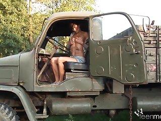 Suntanned Czech Vixen Fumbles Her Sensative Coochie On The Military Truck