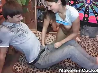 Extreme nubile dark-haired is cavorting her cuckold beau's buddy, solely for the joy be required of it