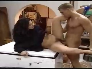 Italian blackguardly haired is having casual fuck-fest with a stud who is not her whisper suppress or bf