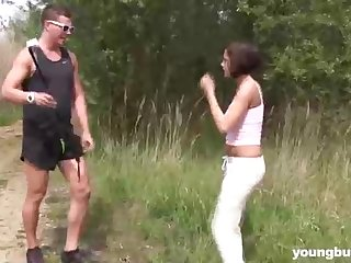 New dark-haired is getting banged in the nature, in the middle of a attractive day
