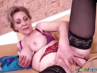 Euro mature doll, Milena is wearing undergarments and pantalettes after a long time convulsive for the camera