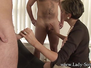 Lady Sonia fucks 2 guys gets covered with reference to cum