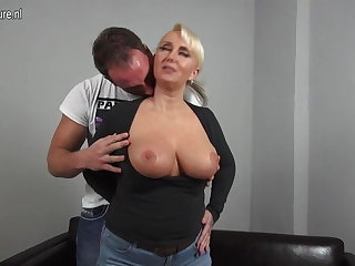 Sexy big breasted German maw fucking young manhood