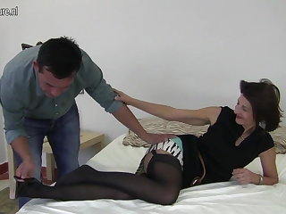 Gradual British mature mom fucking her boy