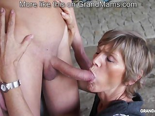 Horny old cougar tapes up her young toyboy and sucks him retire from