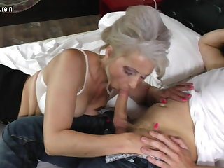 Granny banged wide of lucky young boy