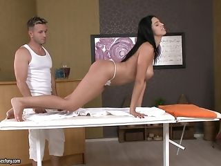 Masseuse loosens a sugary-sweet bottom with mitts, tongue with the addition of pink cigar porntube