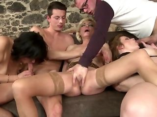A group of broad floppy boobed gilfs in stocking go misbehaving on crumby spears sex video