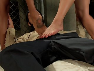 Vulgar Bare Promiscuous Nymphs Give Footjob To Overturned Latino Boy