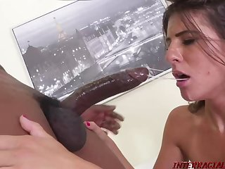 Beautiful woman with a pretty scoff is about to get ravaged by 2 dark-hued men