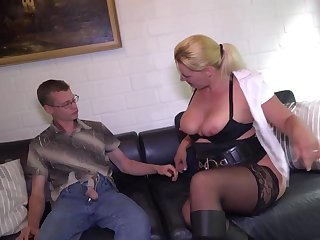Oddball blond housewife is always prepped for a superb bang, since her vagina is always humid