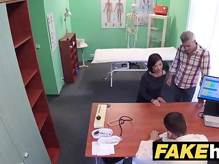 Czech girl with moonless hair is wearing dark-hued stocking and getting drilled rock-hard, in the medical center