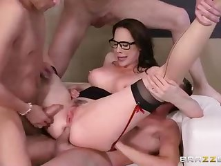 Dark-Haired with glasses, Chanel Preston is getting plumbed from the back and loving it a bunch