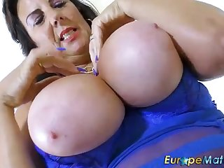 Sensuous, mature dark-haired, Jack the ripper Obese is frolicking with say no to massive boobies and displaying say no to donk