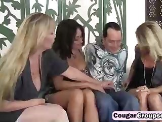 3 messy cougars and a saucy bloke are having a brilliant plow time, while on the be adjacent to