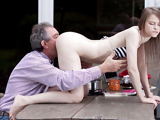 Dictatorial Natural Teen Fucked by Grandpa In foreign lands And Swallows